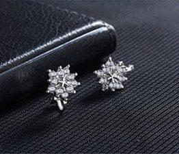 ohrringe Damen mädchen 925er Sterling Sliber mit Glitter Diamant personalisierte Blumen Ohrclips