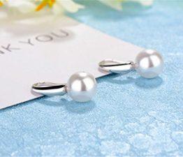 Ohr Hoop Damen mädchen 925er Sterling Sliber Retro Süße Persönlichkeit langen Perle Ohrringe
