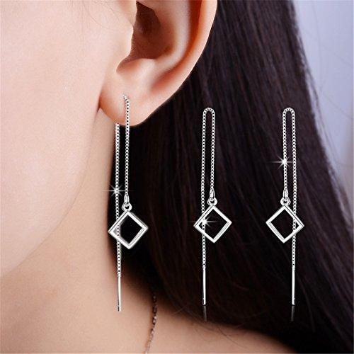 Ohrringe Damen mädchen 925er Sterling Sliber Geometrie Lange Troddel ohrhänger