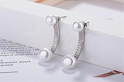 Front-Back-Ohrringe Damen mädchen 925er Sterling Sliber mit Glitzer Zirkonia Kurven Perlen Ohrringe