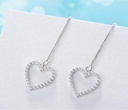 ohrhänger Damen mädchen 925er Sterling Sliber mit Diamant Herzform Quastenohrlinie