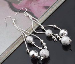 Damen-Ohrringe Lange Ohrhänger Ohrhänger mit Kugel 925 Sterling Silber