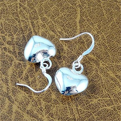 Ohrringe Hänger Damen Mädchen 925 Sterling Silber lang Herz Anhänger ohrhänger