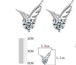 Damen Ohrringe Ohrstecke Schmuck Zirkonia Angel Wings Flügel Ohrringe Modeschmuck