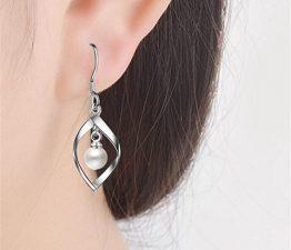 Ohrringe Damen mädchen 925er Sterling Sliber Quaste Kurven Perlen Hoop Ohrhänger