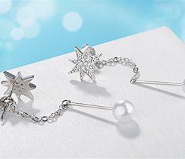 Ohrhänger Damen mädchen 925er Sterling Sliber mit glitzer Zirkonia Sterne Lange Quaste Perlen Hypoallergen Ohrringe