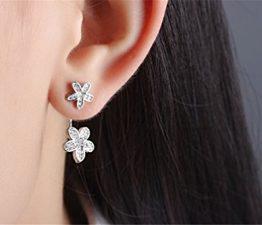 Frauen Schmuck 925 Sterling Silber Diamant Blumen Ohrringe Ohrhänger Ohrring