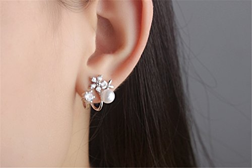 Frauen Schmuck 925 Sterling Silber Diamant Blumen Perlen Ohrringe Ohrhänger Ohrring