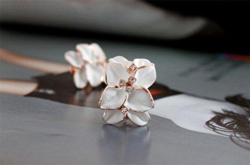 Frauen Damen Ohrringe Retro Blumen mit Diamant Ohrclip (Weiss)