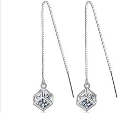 Damen Lange Absatz Quaste Ohrringe Ohrhänger 925 Silber Ohrringe Weiblichen Schmuck