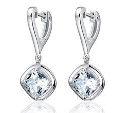 Ohrringe Clip Damen Mädchen 925 Sterling Silber lang Würfel mit Zirkonia Ohrhänger