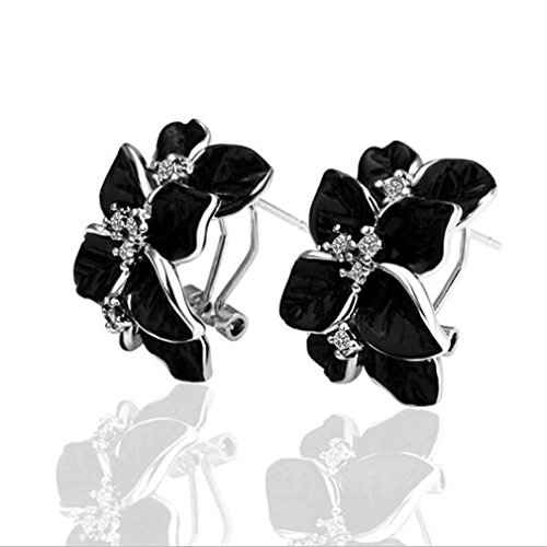 Für Damen Frauen Ohrringe Zirkon Black Rose acht Blütenblätter Blume Ohrclip (Silber)