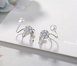 1 Paar Ohrclips Damen Mädchen 925er Sterling Silber mit Bling-Zirkonia et Perlen antiallergische Einfachheit Stil Ohne Ohrloch Ohrringe