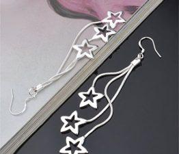 Ohrringe Hänger Damen Mädchen 925 Sterling Silber lang 3 Sterne ohrhänger Modeschmuck