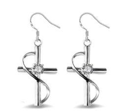 Ohrringe Hänger Damen Mädchen 925 Sterling Silber lang Kreuz mit Zirkonia Ohrhänger