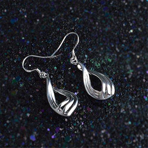 Ohrringe Hänger Damen Mädchen 925 Sterling Silber lang Corrugated Tröpfchen ohrhänger