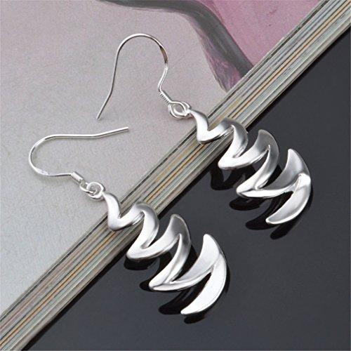Ohrringe Hänger Damen Mädchen 925 Sterling Silber lang Unregelmäßige Grafiken ohrhänger