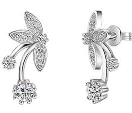 Frauen Schmuck 925 Sterling Silber Zirkonia Schmetterling Blumen Ohrringe Ohrhänger