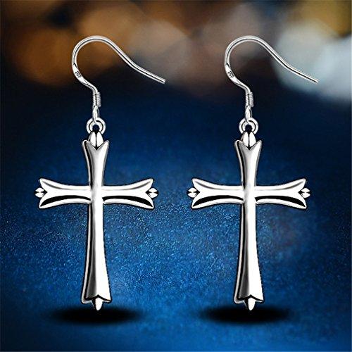 Damen-Ohrhänger Ohrringe 925 Sterling Silber Polieren Kreuz