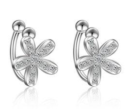 Ohrclip ohne ohrloch Damen mädchen 925er Sterling Sliber mit Bling-Zirkonia schneeflocke Blumen Einfache Stil