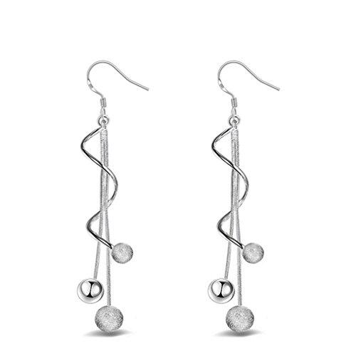 Ohrringe Hänger Damen Mädchen 925 Sterling Silber lang Perlen Glücklich verdreht Linie ohrhänger für Partei