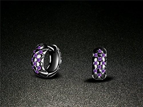 Damen Elegant Klein Creolen Ohrringe Klapp-Creolen Ohrstecker Lila Kristallen Hypoallergen Ohrstecker 925 Sterling Silber (Schwarz)