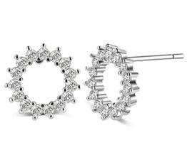 Damen Braut Schmuck Hohle Blume Zirkon Ohrstecker Ohrringe Ohrschmuck aus 925 Sterling Silber