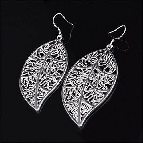 Damen-Ohrringe Lange Ohrhänger Groß Blätter 5,3*2,1 CM Ohrringe 925 Sterling Silber mit Schmuckbox